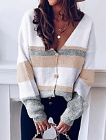 cheap -Women's Basic Knitted Color Block Cardigan Long Sleeve Loose Sweater Cardigans V Neck Fall Winter Blue Fuchsia Khaki