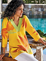 cheap -Women's Tunic Leaf Print V Neck Tops Loose Basic Basic Top Yellow
