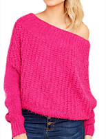 cheap -Women's Basic Knitted Solid Color Plain Pullover Long Sleeve Loose Sweater Cardigans Off Shoulder Fall Winter Fuchsia