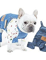 cheap -pet dog denim clothes small dogs cowboy overalls classic puppy vintage clothes cat apparel-m