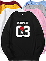 cheap -Women's Sweatshirt Cartoon Crew Neck Flower Letter & Number Sport Athleisure Pullover Long Sleeve Warm Soft Oversized Comfortable Everyday Use Causal Exercising General Use