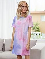 cheap -Women's T Shirt Dress Tee Dress Short Mini Dress - Short Sleeve Tie Dye Print Spring Summer Casual Cotton Loose 2020 Blue Purple S M L XL