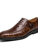 cheap -Men's Spring / Fall Business / Classic / Casual Daily Office & Career Oxfords Faux Leather Breathable Non-slipping Wear Proof Black / Brown / Square Toe