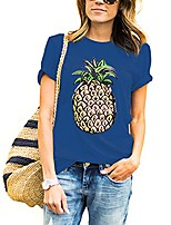 cheap -women t shirt summer pineapple printed short sleeve tops funny t shirt girls tees (s, blue)