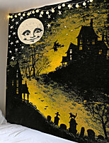 cheap -Tapestry Print Halloween Moon Carpet Home Decoration Night Moon Hippie Tapestry Wall Mounted Tapestry Decoration