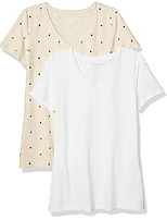 cheap -women's 2-pack classic-fit short-sleeve v-neck patterned t-shirt