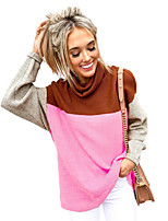 cheap -Women's Basic Knitted Color Block Pullover Long Sleeve Sweater Cardigans Turtleneck Fall Winter Black Yellow Fuchsia