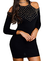 cheap -Women's Sheath Dress Short Mini Dress - Long Sleeve Solid Color Summer Sexy Daily Holiday Slim 2020 Black S M L XL