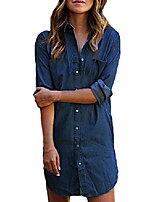 cheap -women& #39;s long sleeve blouse dress button down t-shirt chambray cotton shirt with pockets a-dark blue large