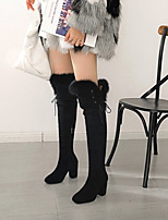cheap -Women's Boots Wedge Heel Square Toe Sexy Daily Solid Colored PU Over The Knee Boots Black / Brown