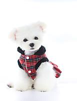 cheap -Dog Dress Plaid Cute British Christmas Party Winter Dog Clothes Warm Black Red Costume Fabric XS S M L XL