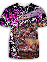 cheap -Men's Party T-shirt Graphic Print Short Sleeve Tops Exaggerated Round Neck Fuchsia