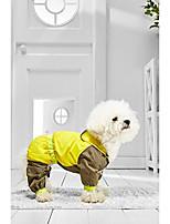 cheap -small dog raincoat for bichon frise mini schnauzer chinese crested jack russell (medium size, yellow, khaki)