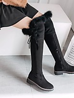 cheap -Unisex Boots Block Heel Round Toe Casual Daily Solid Colored Nubuck Over The Knee Boots Black / Red / Brown