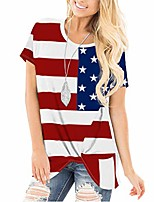 cheap -women american flag july 4th tops long sleeve off shoulder pullover blouse loose t-shirt tee & #40;red, m& #41;