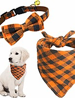 """cheap -2 pack cat and dog collar breakaway and bandana set with bell, adjustable plaid bowtie and scarf triangle bibs kerchief for small/medium/large dogs (orange plaid, s(9.8""""-14""""))"""
