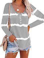 cheap -Women's Blouse Striped Long Sleeve Print U Neck Tops Basic Basic Top Purple Orange Khaki