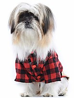 cheap -pet clothes dog outfits jumpsuit ombre black/red plaid shirt top with overalls puppy clothes dog costume beige jeans pants jumpsuit for small dog