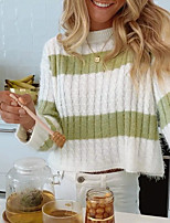 cheap -Women's Knitted Striped Pullover Acrylic Fibers Long Sleeve Sweater Cardigans Crew Neck Fall Winter Green
