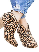 cheap -Women's Boots Cuban Heel Round Toe Casual Basic Daily Striped PU Booties / Ankle Boots Walking Shoes Almond / Leopard / Black