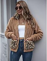 cheap -Women's Fall & Winter Teddy Coat Regular Leopard Daily Basic Patchwork Khaki S M L