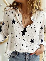 cheap -Women's Blouse Shirt Star Long Sleeve Shirt Collar Tops Basic Basic Top White