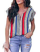 cheap -women& #39;s striped short sleeve v neck half zip up tank tops casual blouse tunic shirt multicolor striped m 8 10