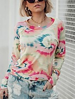 cheap -Women's Daily Pullover Sweatshirt Tie Dye Basic Hoodies Sweatshirts  Red Light Blue