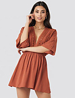 cheap -Women's A-Line Dress Short Mini Dress - Half Sleeve Solid Color Lace Embroidered Ruched Fall V Neck Casual Slim 2020 Orange S M L XL