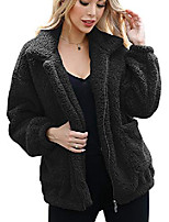 cheap -women's coat casual lapel fleece fuzzy faux shearling zipper warm winter oversized outwear jackets a95hei-l
