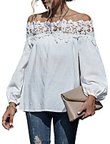 cheap -Women's Going out Blouse Solid Colored Plain Long Sleeve Lace Patchwork Off Shoulder Tops Loose Elegant Sexy Basic Top White Black Purple