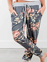 cheap -Women's Daily Weekend Loose Chinos Pants Flower Black Dusty Blue Gray M L XL