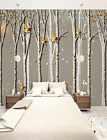 cheap -Art Deco  Custom Self Adhesive Mural Wallpaper Bird Forest Suitable For Bedroom Living Room Cafe Restaurant Hotel Wall Decoration Art