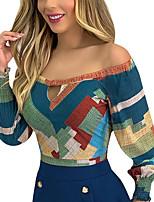 cheap -Women's Blouse Polka Dot Long Sleeve Print Off Shoulder Tops Basic Basic Top Rainbow