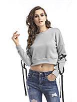 cheap -Women's Daily Cropped Sweatshirt Solid Color Plain Basic Hoodies Sweatshirts  Loose Beige Gray