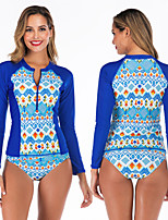 cheap -Women's Rashguard Swimsuit Swimwear Breathable Quick Dry Long Sleeve 2-Piece Front Zip - Swimming Surfing Water Sports 3D Print Autumn / Fall Spring Summer / Stretchy