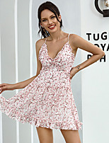 cheap -Women's A-Line Dress Short Mini Dress - Sleeveless Floral Backless Ruffle Patchwork Summer V Neck Casual Elegant Slim 2020 Blushing Pink S M L / Print