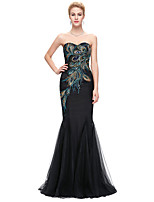 cheap -Mermaid / Trumpet Elegant Vintage Engagement Formal Evening Dress Strapless Sleeveless Floor Length Spandex with Embroidery 2020