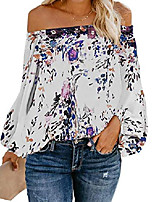 cheap -womens oversized floral blouse off shoulder lantern sleeves chiffon flowy tops & #40;xx-large, purple& #41;