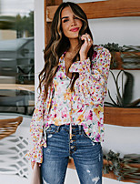 cheap -Women's Blouse Floral Long Sleeve Pleated Print V Neck Tops Basic Basic Top Blushing Pink