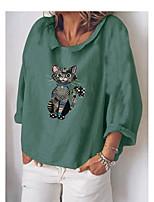 cheap -Women's Blouse Cat Print Shirt Collar Tops Basic Fall Blue Purple Green