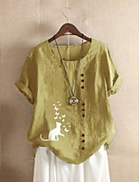 cheap -Women's Plus Size Blouse Cat Butterfly Print Round Neck Tops Basic Spring Summer Yellow Green Brown