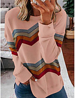 cheap -Women's T-shirt Striped Long Sleeve Print Round Neck Tops Loose Basic Basic Top White Blushing Pink Gray
