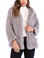cheap -womens fuzzy hooded oversized coat faux shearling shaggy open front jacket warm winter pockets lined outwear
