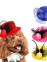 cheap -Dog Cat Ornaments Hats, Caps & Bandanas Hair Accessories Cartoon Cosplay Dog Clothes Black Yellow Red Costume Fabric One-Size