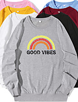 cheap -Women's Sweatshirt Cartoon Crew Neck Color Block Letter Printed Sport Athleisure Pullover Long Sleeve Warm Soft Oversized Comfortable Everyday Use Causal Exercising General Use