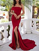cheap -Mermaid / Trumpet Minimalist Sexy Wedding Guest Formal Evening Dress Off Shoulder Sleeveless Court Train Spandex with Split 2020