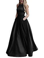 cheap -women& #39;s long beaded halter satin prom dress a line open back evening gowns with pockets & #40;4, black& #41;