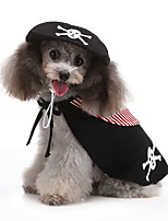 cheap -Dog Halloween Costumes Costume Shirt / T-Shirt Sailor Pirate Casual / Sporty Cool Christmas Party Dog Clothes Breathable Black Costume Polyester S M L XL