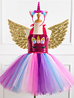 cheap -Unicorn Dress Wings Costume Girls' Movie Cosplay Tutus Braided / Cord Vacation Dress Golden / Silver / Rainbow Dress Wings Headwear Christmas Halloween Carnival Polyester / Cotton Polyester